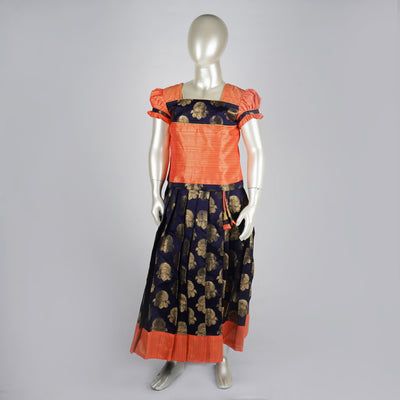 Zari Silk Pattu Pavadai Kids With Contrast Blouse and Yoke/Coral/Dark Blue - thenesavu