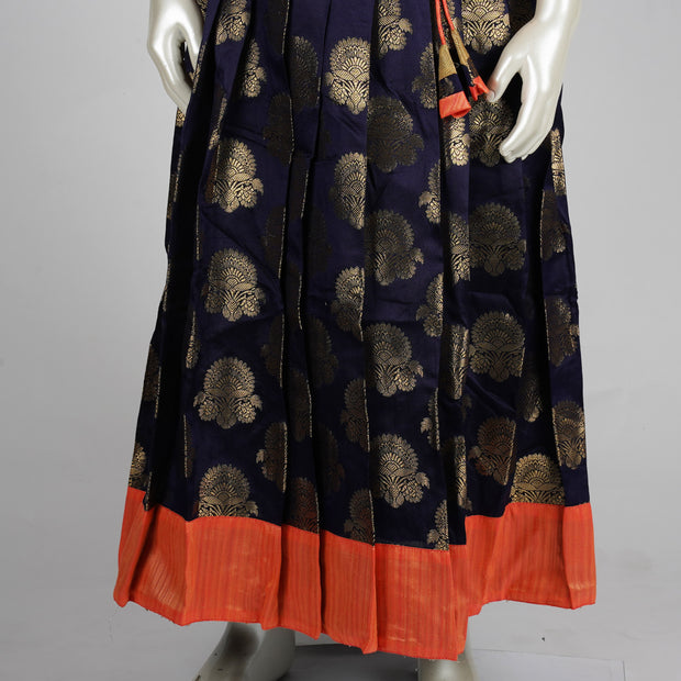 The Nesavu Pattu Pavadai Zari Silk Pattu Pavadai Kids With Contrast Blouse and Yoke/Coral/Dark Blue psr silks Nesavu