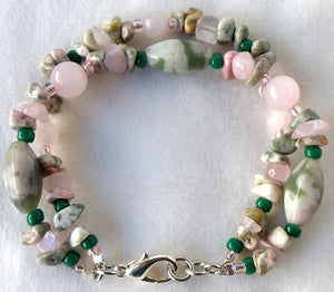 Beaded Gemstone Doublestrand Necklace