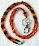 black orange beaded lanyard