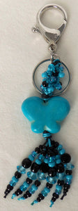 Black & Blue Butterfly Beaded Clip-On Keychain