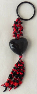 black & red beaded keychain