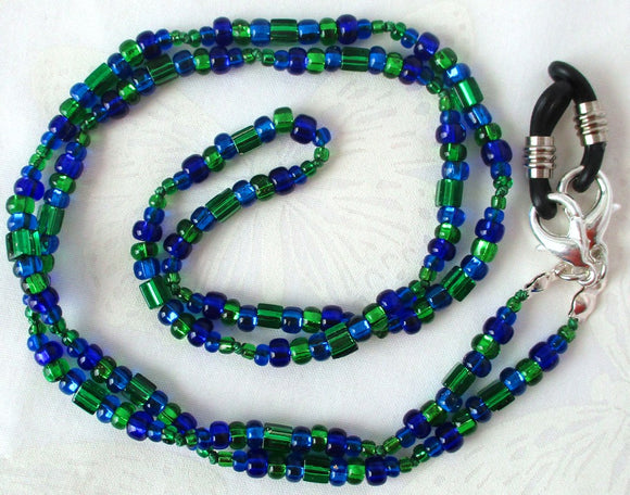 Blue Green Beaded Eyeglass Chain