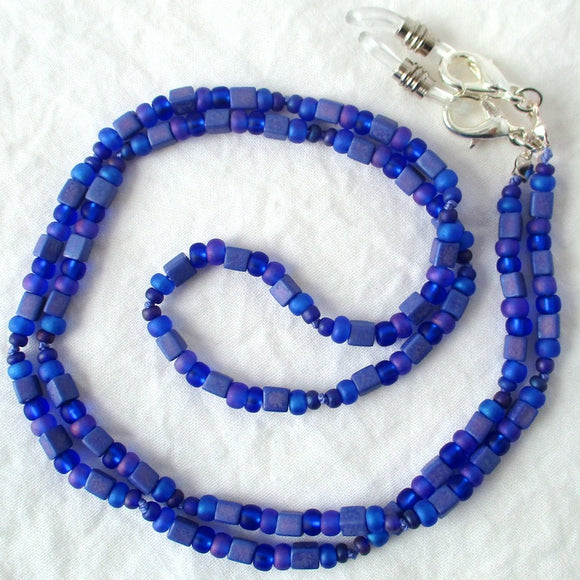 Blue Purple Beaded Eyeglass Chain