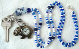 Blue White Beaded Watch Lanyard