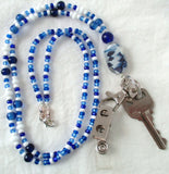 Blue White Beaded Badge Holder