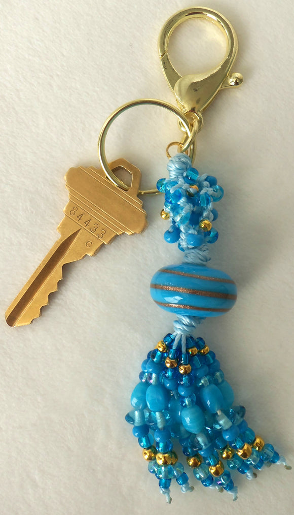 Blue & Gold Beaded Clip-On Keychain