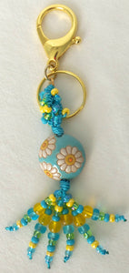 Blue White Flower Beaded Clip-on Keychain