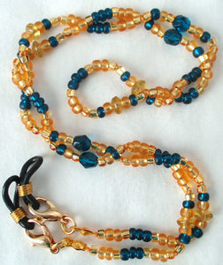 blue yellow beaded eyeglass chain