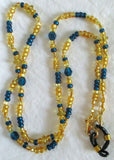 blue yellow eyeglass chain
