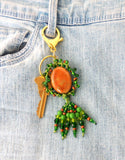 Green Beaded Clip-On Keychain