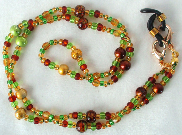 Green & Brown Beaded Eyeglass Chain