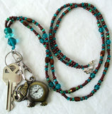 Green & Brown Beaded Watch Lanyard