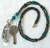 Green Brown Beaded ID Badge Lanyard