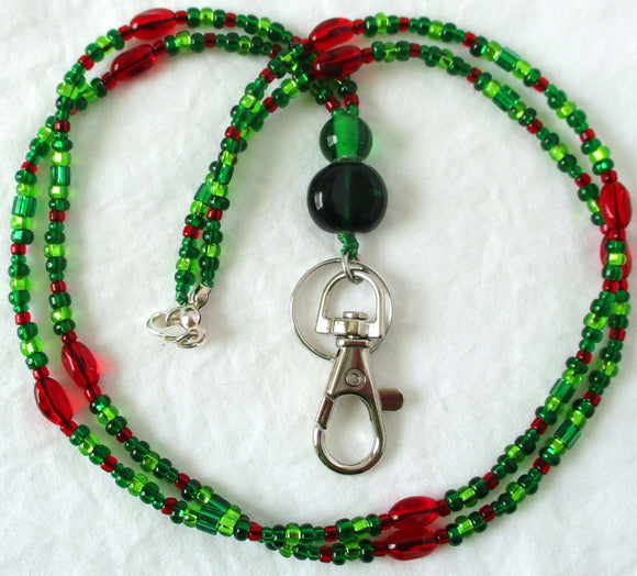Green Red Beaded ID Badge Lanyard
