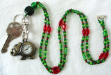 Green Red Beaded Watch Lanyard