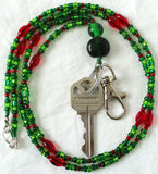 Green Red Beaded Keychain Necklace