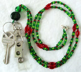 Green Red Beaded ID Badge Holder