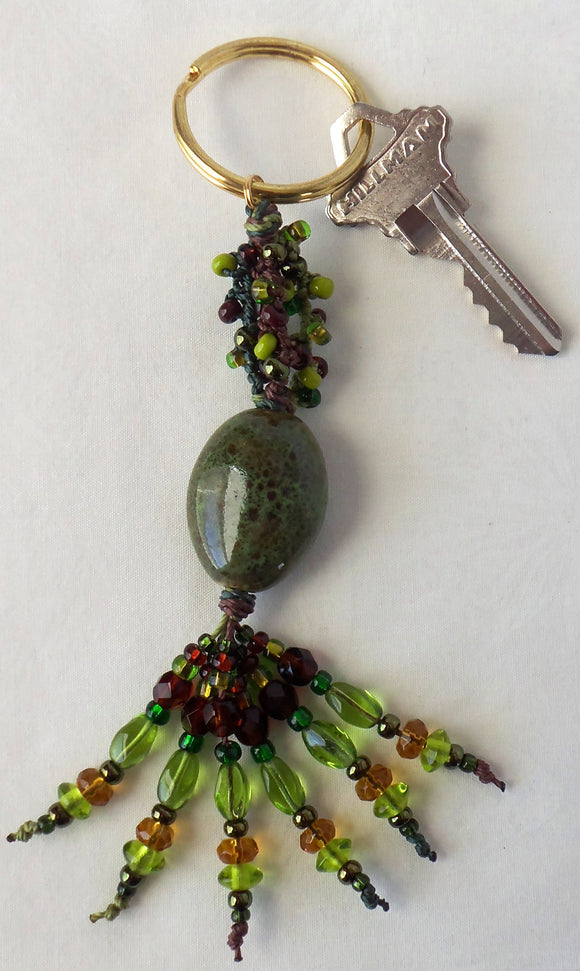 Green Brown Beaded Keychain