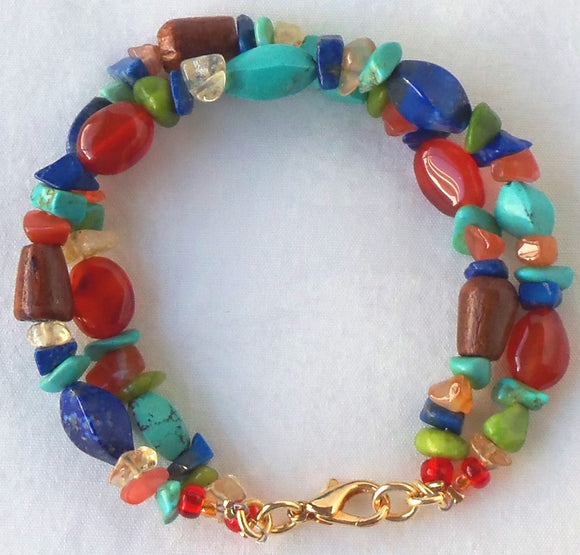 Mixed Doublestrand Gemstone Bracelet