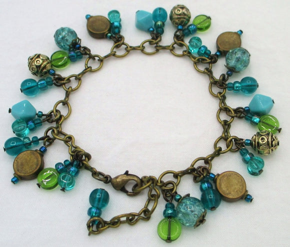 ocean green beaded charm chain bracelet