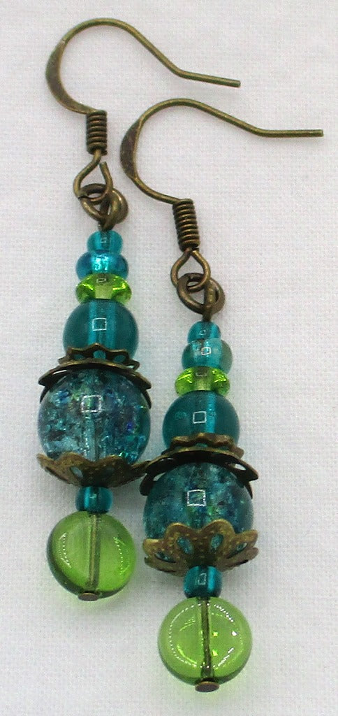 Ocean green beaded drop earrings