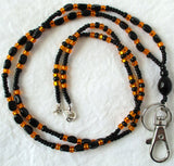 Orange Black Beaded Lanyard