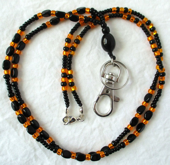 Orange Black Beaded ID Badge Lanyard