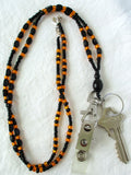 Orange Black Beaded Keychain Necklace