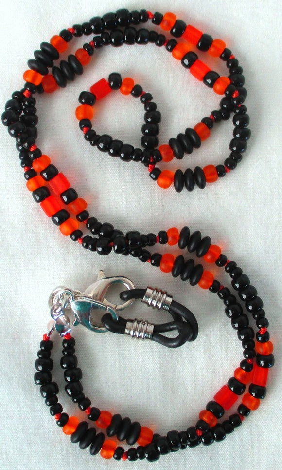 Orange Black Beaded Eyeglass Chain