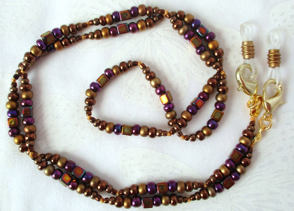Purple Brown Beaded Eyeglass Chain