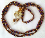 Purple Brown Beaded Reading Glasses Chain