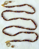 Brown Beaded Chain for Reading Glasses
