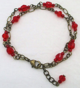 Red Beaded Chain Bracelet