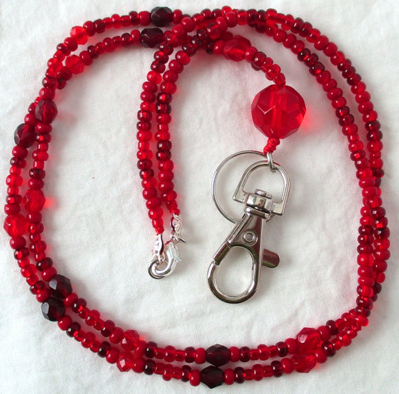 Red Beaded ID Badge Holder