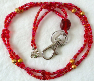 Red Gold Beaded ID Badge Lanyard