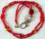 Red Gold Beaded Lanyard