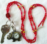 Red Gold Beaded Watch Lanyard