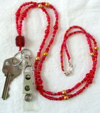 Red Gold Beaded ID Badge Holder