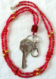 Red Gold Beaded Keychain Necklace