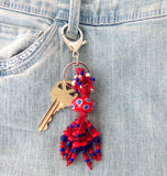 Beaded Red Keychain
