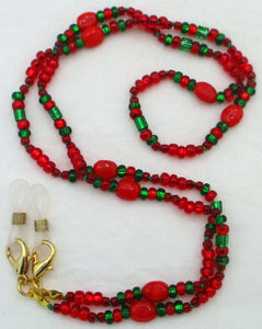 Red Green Beaded Eyeglass Chain