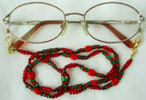 Red & green beaded glasses chain