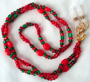 red & green beaded eyeglass chain