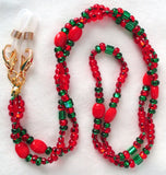 Red Beaded Eyeglass Chain