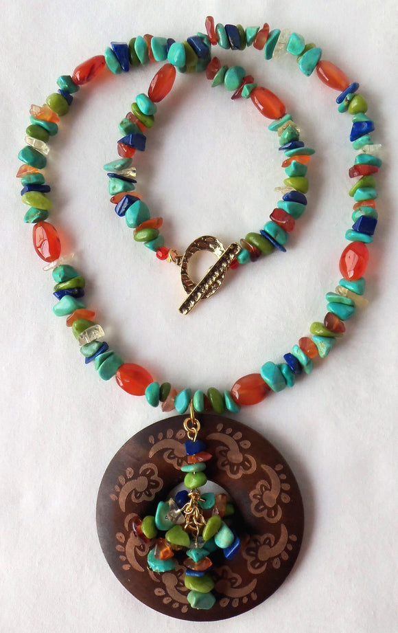 wood gemstone pendant necklace