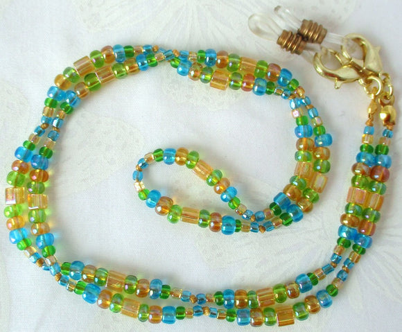 Yellow Green Blue Beaded Eyeglass Chain