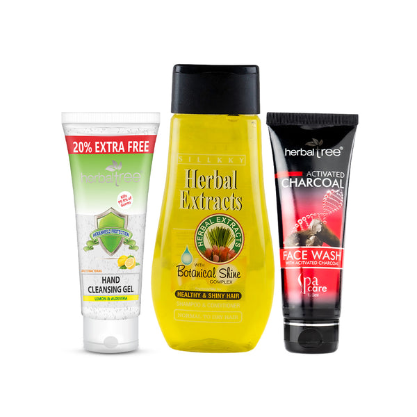 Herbal Tree Hexashield Gel with 70% Alcohol X Sillkky Self Hygiene Combo - Sanitizing Gel + Lemon Grass Shampoo + Charcoal Face Wash