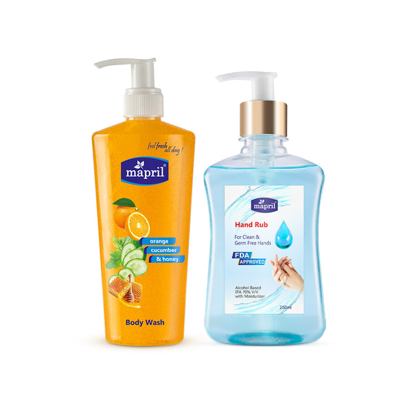 Mapril Hand Rub & Orange Body Wash Combo