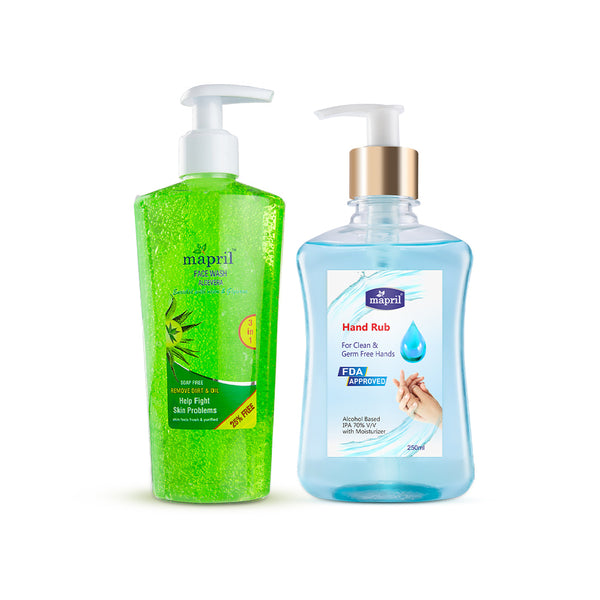 Mapril Hand Rub & Aloevera Face Wash Combo